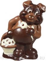 Свинка с корзинкой из шоколада ручной работы